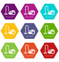vacuum cleaner icons set 9 vector image