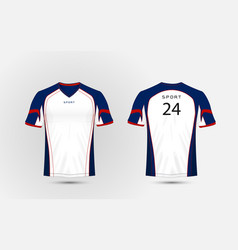 White blue and red pattern sport football kits vector