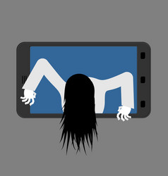 Witch zombie from smartphone zombie girl comes vector