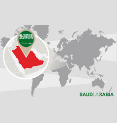 World map with magnified saudi arabia vector
