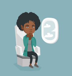 Young african woman suffering from aerophobia vector