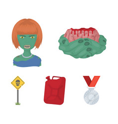 Zombies and attributes cartoon icons in set vector