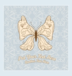 floral butterfly with seamless pattern vector image vector image