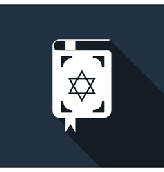 Jewish torah book icon with long shadow vector image