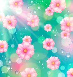 Background with pink spring flowers vector image vector image