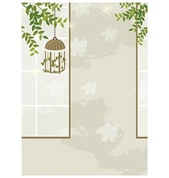 Bird cage leaves interior vector image vector image