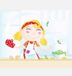 cartoon kitchen girl vector image vector image