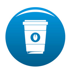 coffee plastic cup icon blue vector image