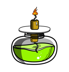 color sketch of spirit lamp chemical burner vector image vector image
