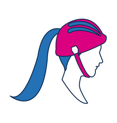 Profile sport woman avatar with blue hair image vector