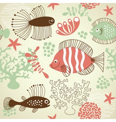 seamless pattern with fishes vector image