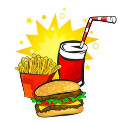burger potatoes and drink vector image