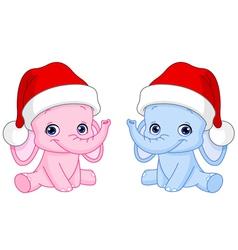 christmas baby elephants vector image vector image
