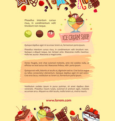 poster for ice cream shop frozen desserts vector image vector image