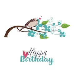 Tree branch in bloom and cute bird singing love vector