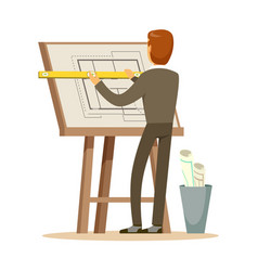 architect working on his project on a drawing vector image