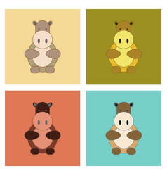 Assembly flat icons kids toy hippo vector