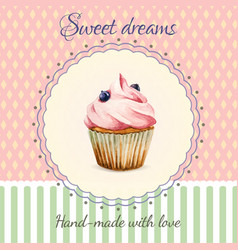 Hand-made desserts flyer template with watercolor vector image