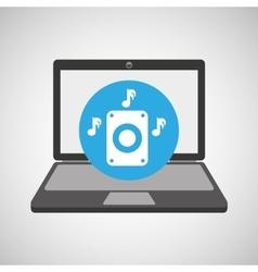 laptop music technology speaker note vector image