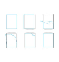 Set apply screen protector flat icons vector image vector image