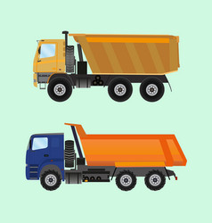 two large tippers colored in flat style vector image vector image