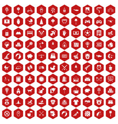 100 nursery icons hexagon red vector image