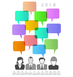 2018 creative people and speech bubble calendar vector image
