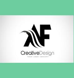 Af a f creative brush black letters design vector