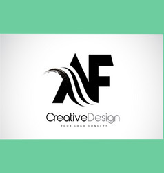 Af a f creative brush black letters design with vector