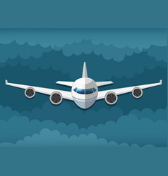 Airplane flies in the clouds vector