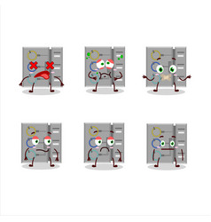 Among us task machine cartoon character with nope vector