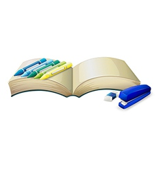 An empty book with crayons a stapler and an eraser vector image vector image