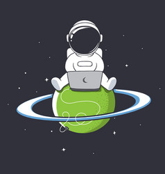 Astronaut with laptop vector