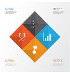 Authority icons set collection bar chart vector