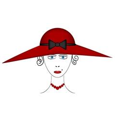Beautiful woman wearing vintage hat vector image