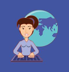 beautiful woman working keyboard world social vector image