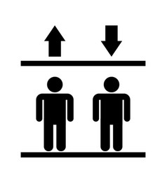 black icon in people in lift with up and down vector image