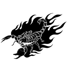 Black silhouettescorpion cartoon with flames vector