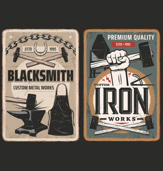 Blacksmith work steel metal forge retro posters vector