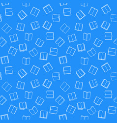 book blue seamless pattern in thin line vector image