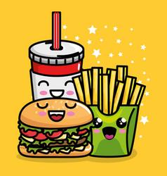burger and french fries with soda kawaii character vector image