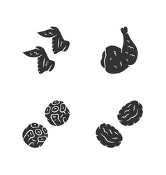 Butchers meat glyph icons set chicken ham wings vector