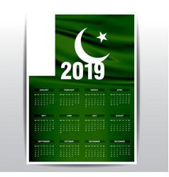 Calendar 2019 pakistan flag background english vector