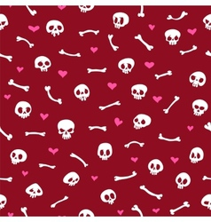 Cartoon Skulls with Hearts on Red Background vector image