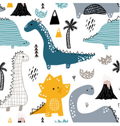 Childish seamless pattern with hand drawn dino in vector