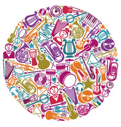circle from musical symbols vector image