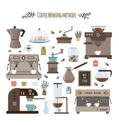 Coffee brewing methods and utensils set flat vector