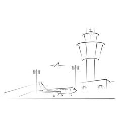 complex of airport with terminal vector image