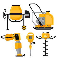 Construction equipment icons set in flat vector