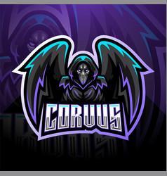 Corvus esport mascot logo design vector